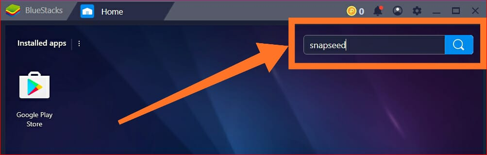 Bluestacks Search Option