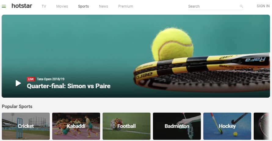 hotstar - top site for free sports